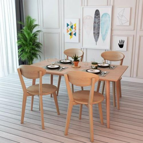 5-PCS Solid Wood Dining Table Set with 4 Chairs for Kitchen