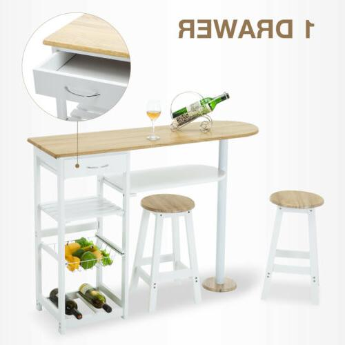 White Kitchen Island Cart Trolley Oak Dining Table Storage 2