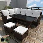 vidaXL Outdoor Dining Lounge Set 16 PCS Rattan Wicker Patio