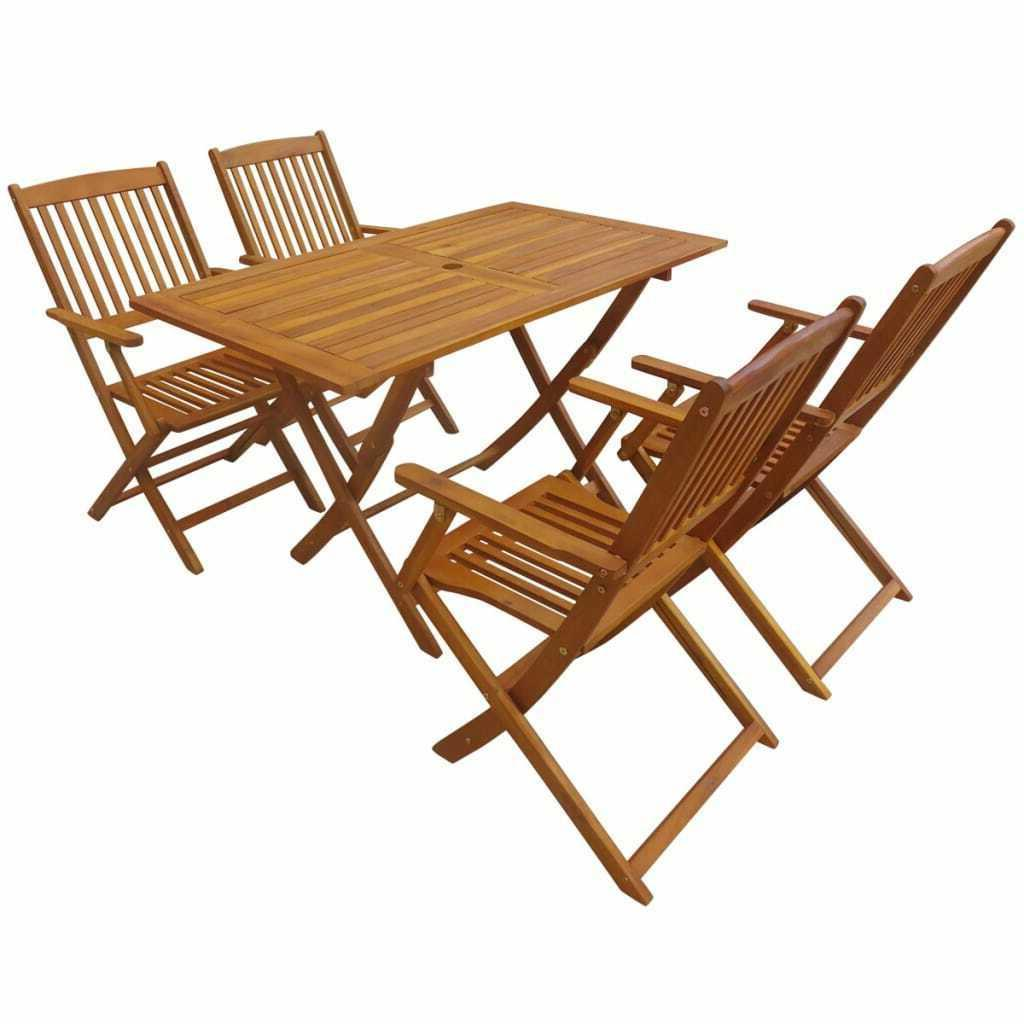 outdoor dining set 5 piece folding solid