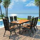 vidaXL Outdoor Dining Set Table Chairs 9 Piece WPC Folding G