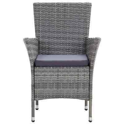 vidaXL Set with Cushions Pieces Poly Rattan Gray