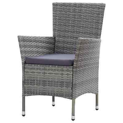 vidaXL Outdoor Dining Set with Cushions Poly Rattan Gray Furniture
