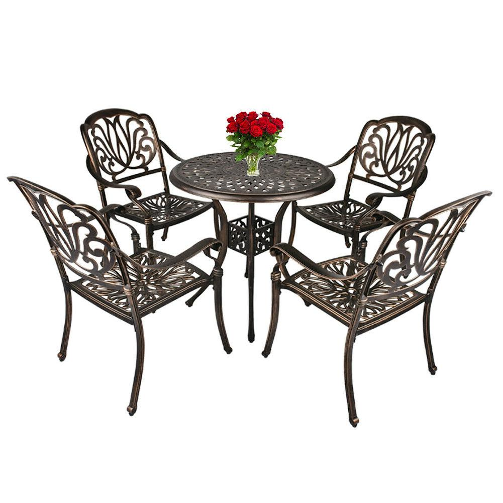 Outdoor Furniture Dining All-Weather Cast Bistro Table and Chairs