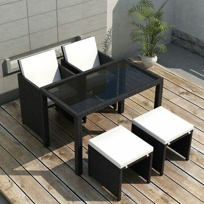 Patio Outdoor Dining Set 11 Pieces Poly Rattan Garden Furnit