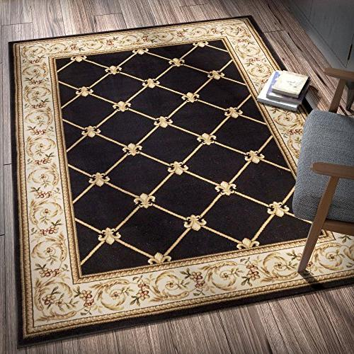 "Patrician Black European 8x10 (7'10"" Area Rug Easy to Clean Fade Resistant Shed Free Contemporary Thick Plush Dining"