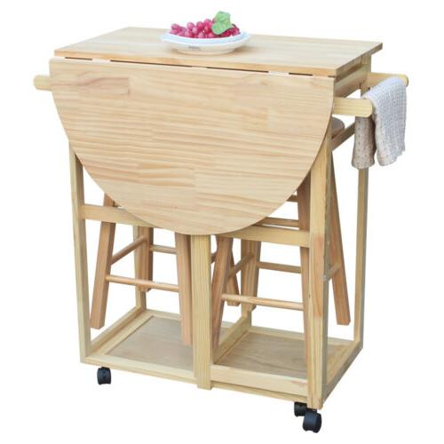 Rolling Kitchen Trolley Cart Island Drop Leaf Table w/ 2 Sto