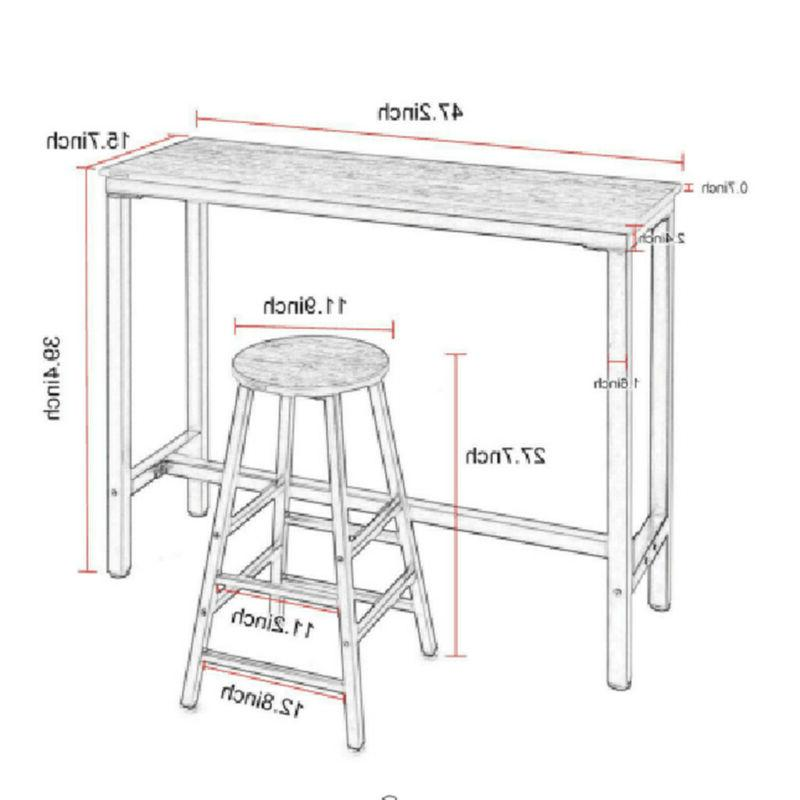 Pub Table 3 Piece Stools Dining Kitchen Counter Chairs