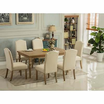 Set of 2 Dining Furniture Ivory and Teal Fabric Dining Chair
