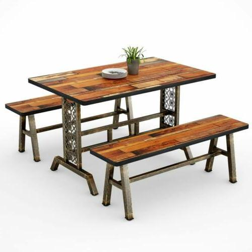 Rustic+Antique Dining Home Kitchen Table &Benches Base