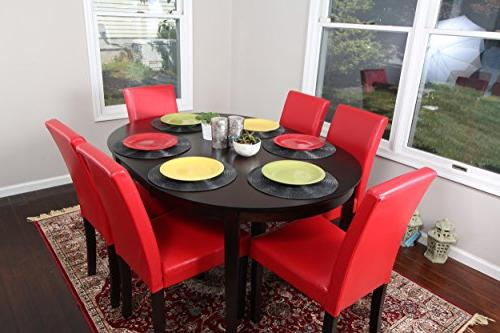red leather oval solid dining
