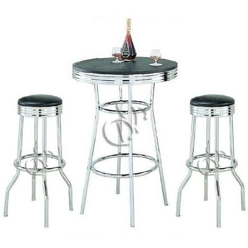 retro chrome bar stools table