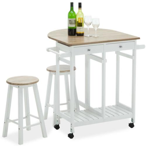 Rolling Wood Cart Trolley Dining Table Set