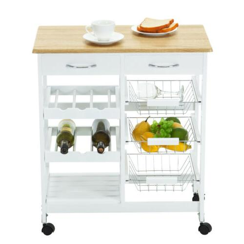 Rolling Wood Kitchen Island Cart Table Set