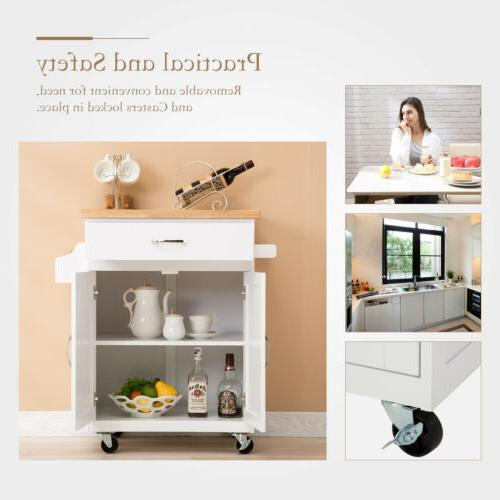 Rolling Wood Cart Trolley Dining Set Cabinet