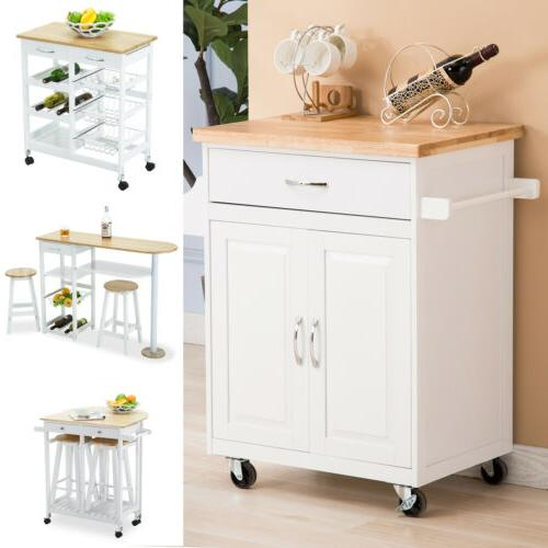rolling wood kitchen island cart trolley dining