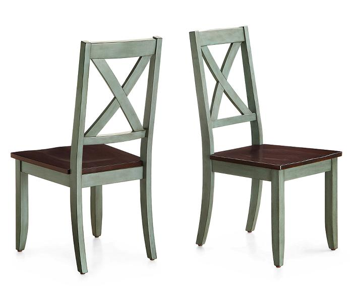 """Set 4 Chairs Green Solid Wood 42"""""""