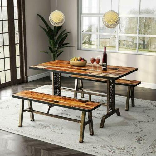 tribesigns dining table with two benches 3