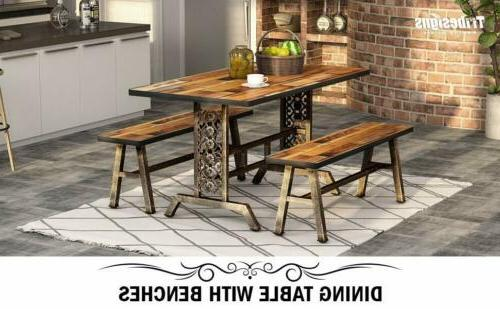 Tribesigns 3 Piece Dining Table Set 2 Benches Room Kitchen B