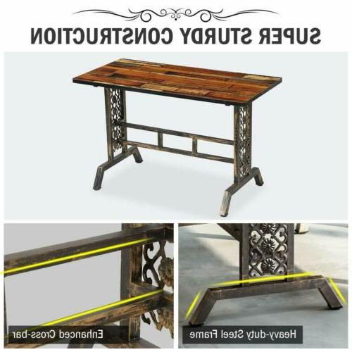 Rustic+Antique Bronze Dining Home Kitchen Table