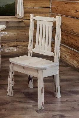 Rustic Set Six Chairs Unfinished Pine