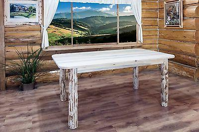 Rustic LOG Set 6 foot Table Six Chairs Made Unfinished