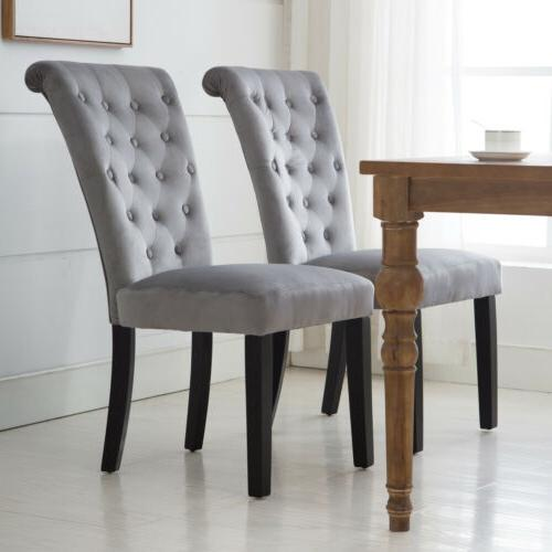 Set 2/4/6 Fabric Roll-Top High Back Chair Tufted