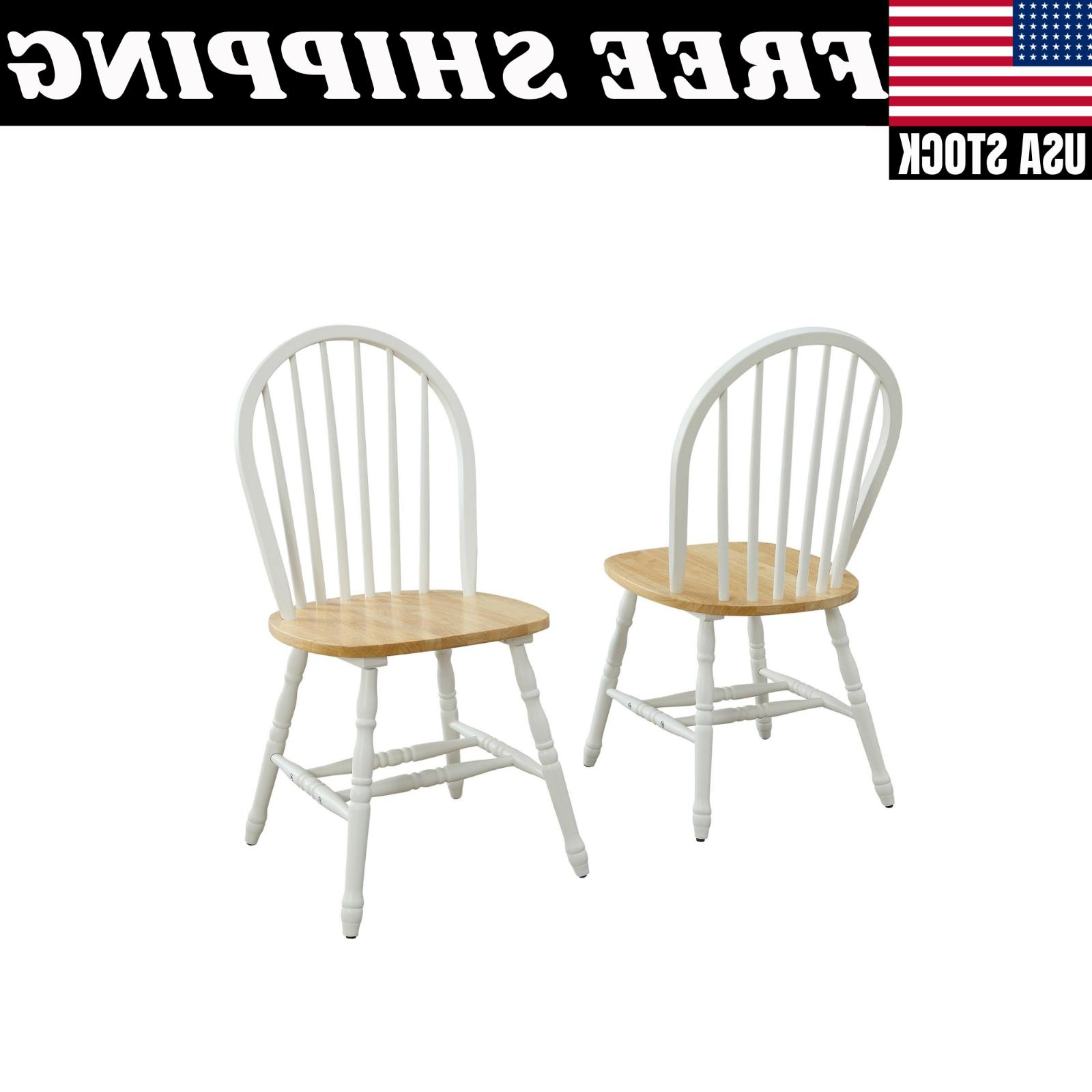 Set Of 2 Autumn Lane Windsor Solid Wood Dining Chairs, White