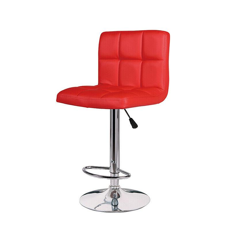 Set of Bar Stools Adjustable Swivel Pub Counter Height Dining Chair Pu Leather
