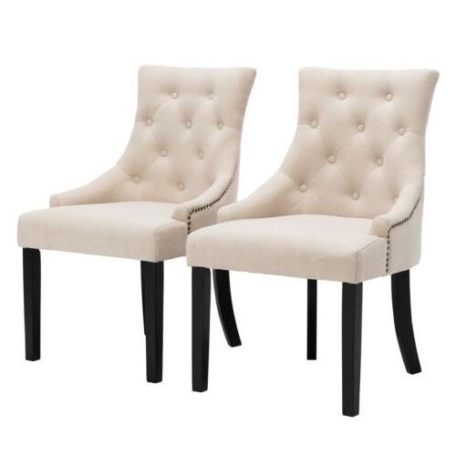Set of 2 Beige Accent Dining Chair Curved Shape Tufted Fabri