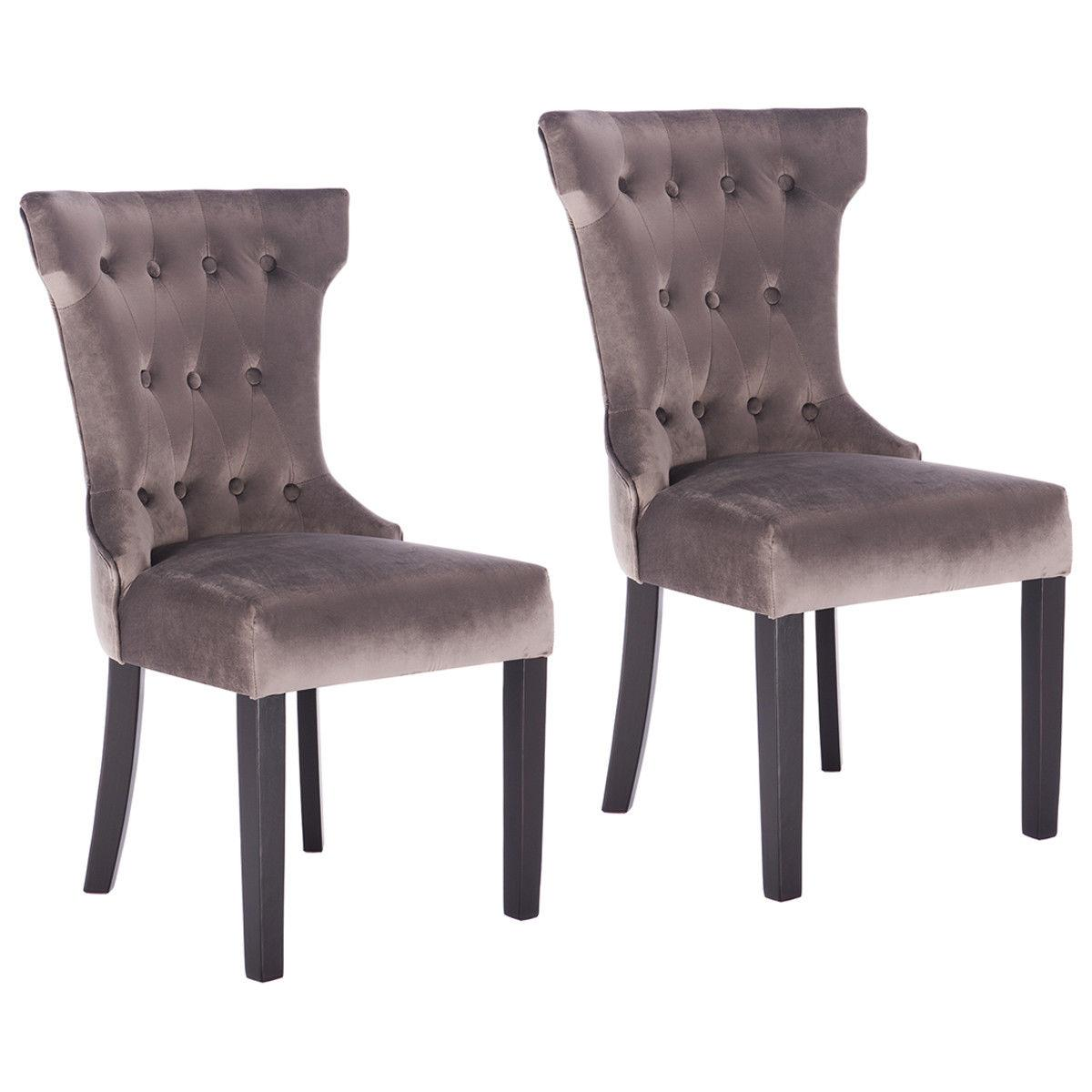 Set of 2 Dining Chair Tufted Upholestered Armless Accent wit