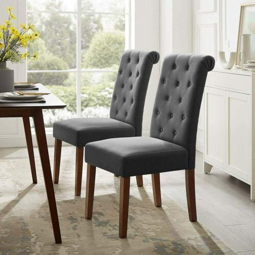 2PCS Dining Room Chairs High Back Padded Kitchen Chairs with