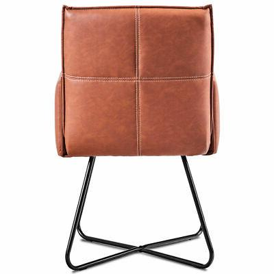 Set Chairs PU Leather Seat Leisure Accent w/Metal Legs