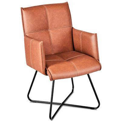 Set 2 Dining Chairs Leather Seat Leisure Accent w/Metal