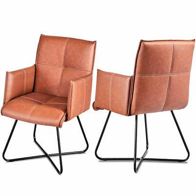 set of 2 dining chairs pu leather