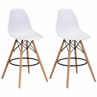 Set of 2 Dining Side Armless Accent Chair Molded Plastic Sea