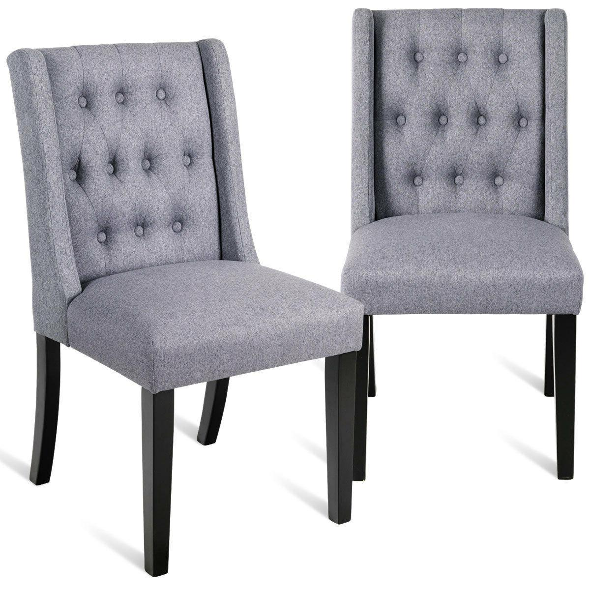 Set of 2 Dining Side Chairs Wing Back Button Tufted Fabric w