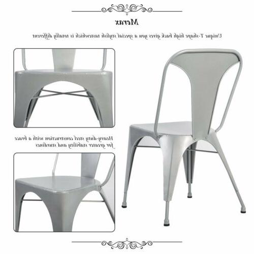 Set of Distressed High Back Chic Steel Stackable Dining Cafe