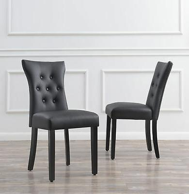 set of 2 modern dining chair faux