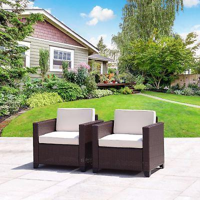 Set of 2 Patio Wicker Club Chairs Set Outdoor Dining Sofa Ga