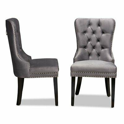 Set Studio Remy Grey Upholstered Espresso Chairs