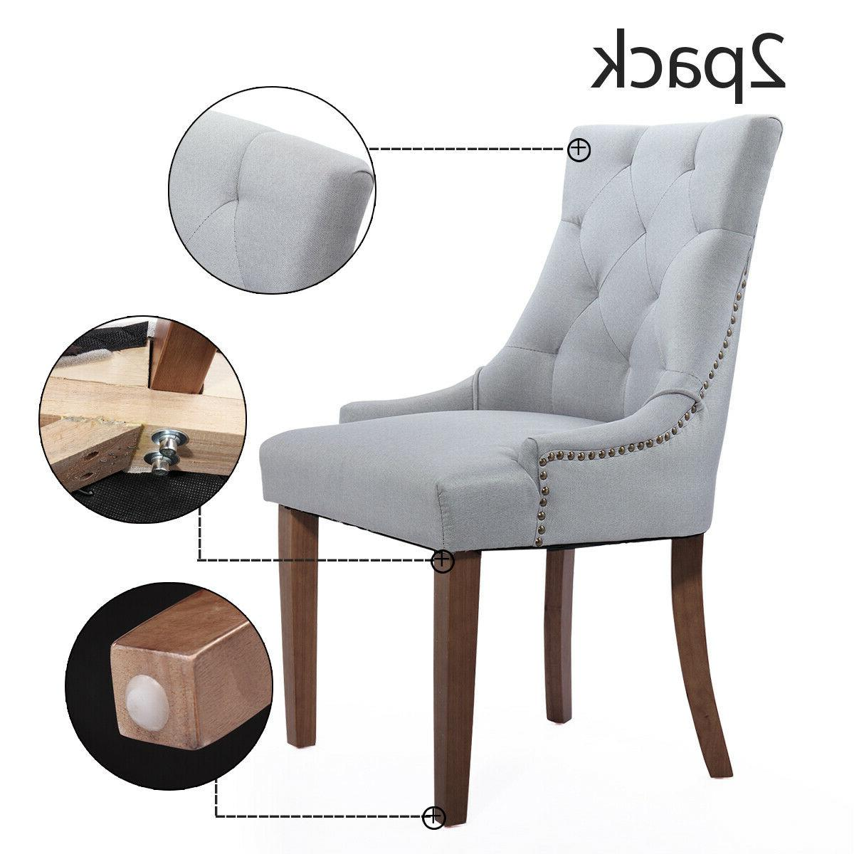 Set of 2 Tufted Dining Chairs Accent Chairs with Legs Gray