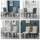 Set of 2 Upholstered Fabric Dining Chairs with Rivets Pine W
