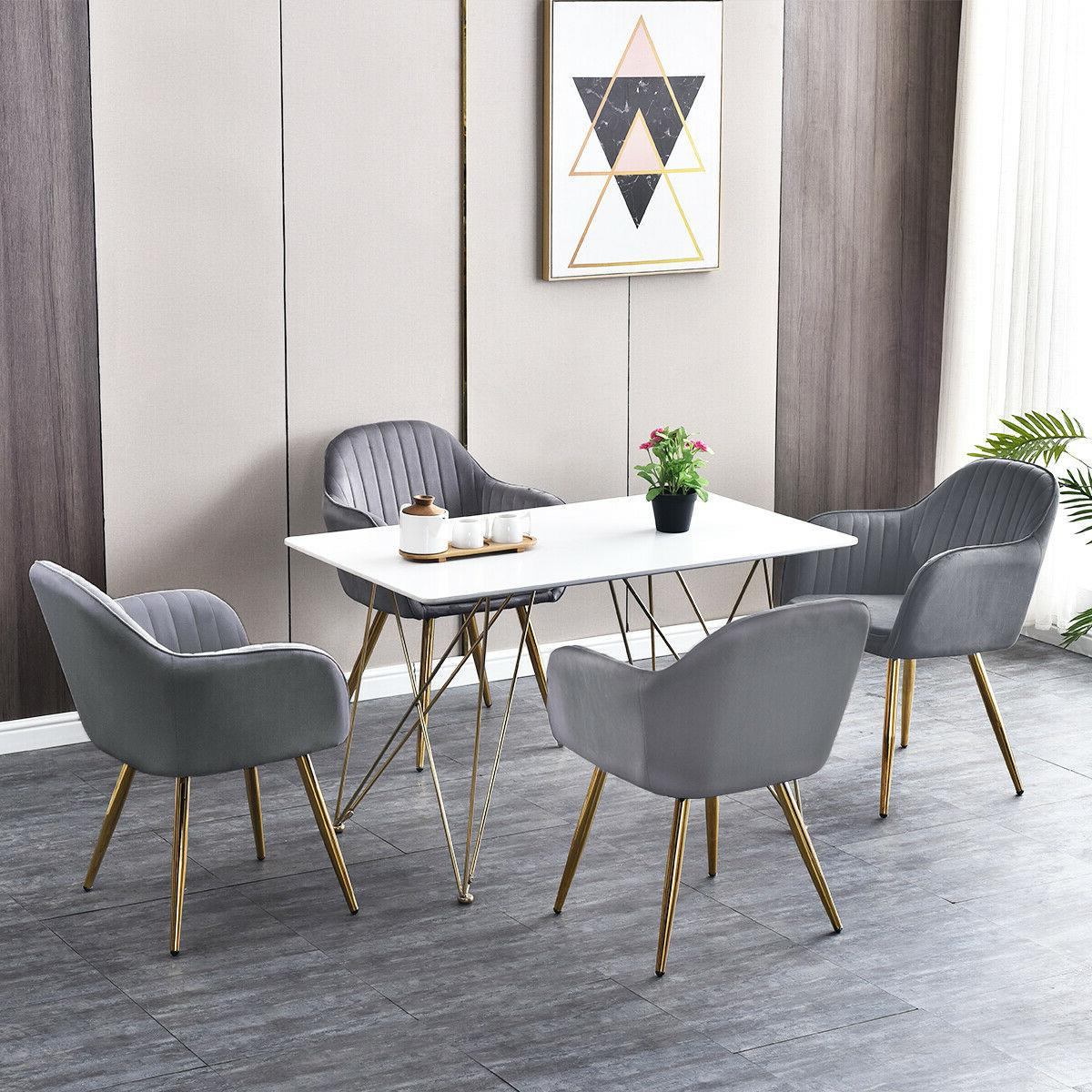 Picture of: Ansley Hosho Contemporary 5 Pieces Black Wood Dining Table And Chairs Set Of 4 Grey Velvet Chairs Upholstered Kitchen Chairs With Retro Table Rectangular Dining Room Set For Small Space Home Kitchen Furniture