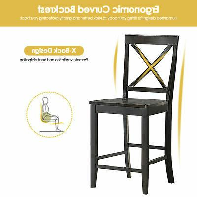Set of 4 24'' Counter Barstools Dining Frame