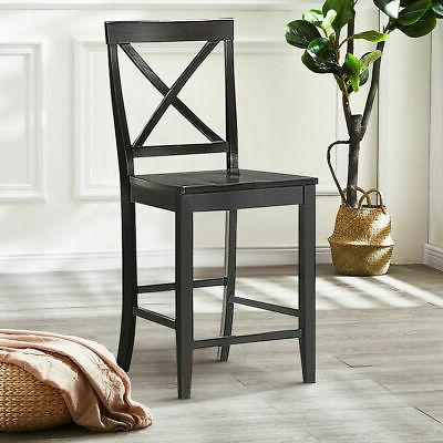 Set 4 Counter Height Dining Chairs Wood