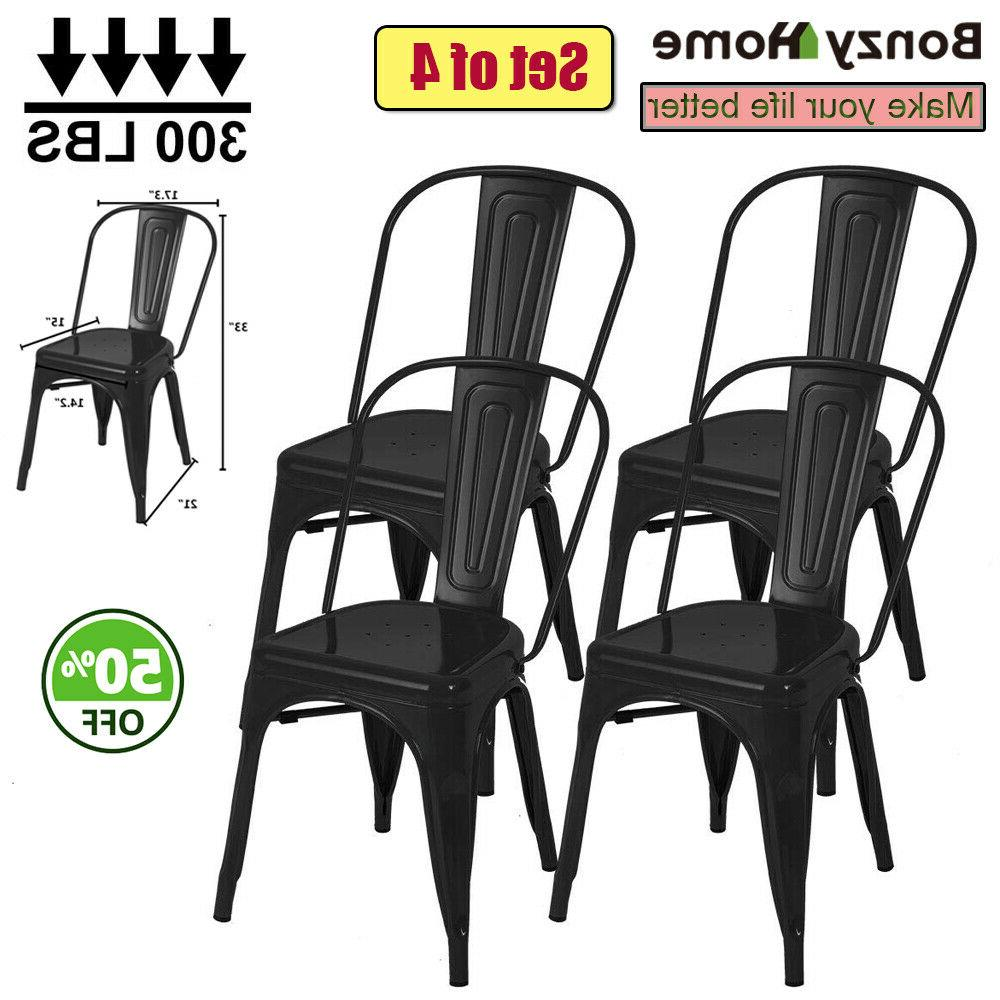 Set of 4/8/12 Metal Dining Side Chairs with Back