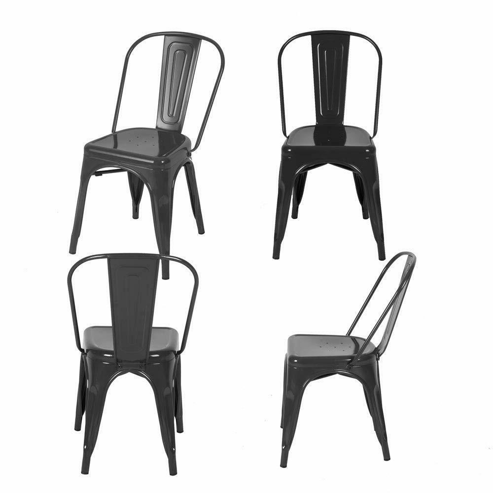 Set of Metal Dining Chair Stackable Side Chairs with Back