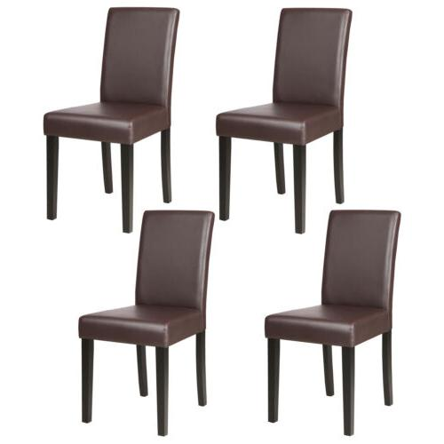 4 Pcs Leather Dining Chair Kitchen Room Backrest Elegant Des