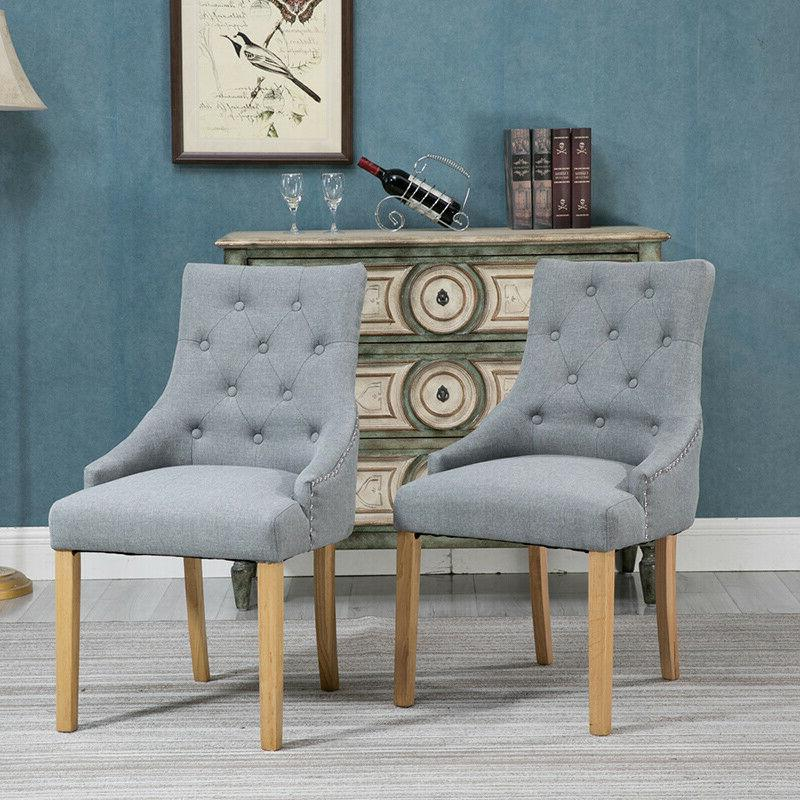 Set of 4 Dining Accent Chair Curved Shape Button Tufted Fabr